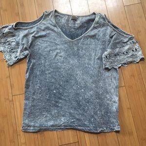 Boutique acid wash cold shoulder shirt